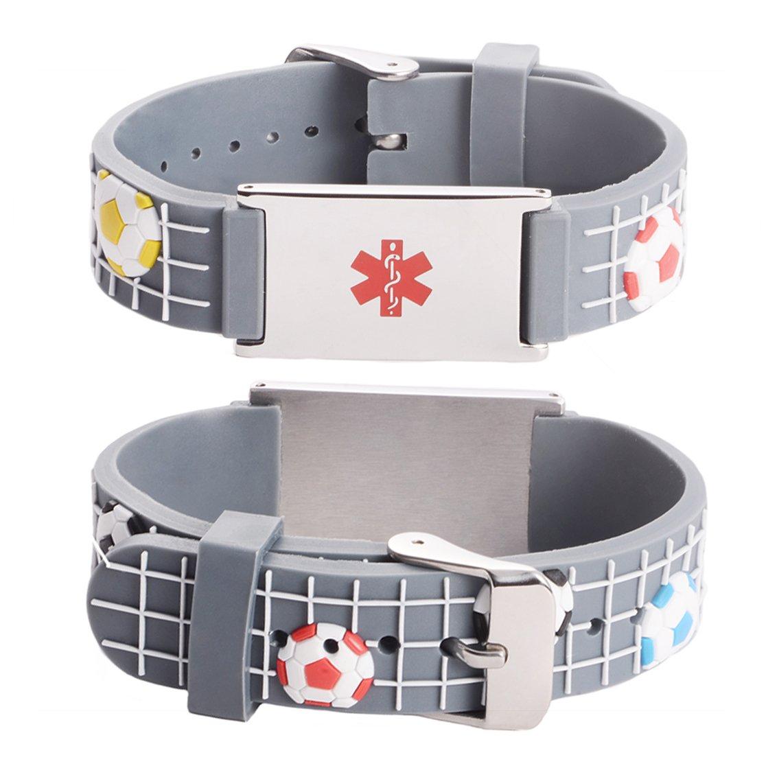 LinnaLove Cartoon Medical id bracelet for boy & girl, Kids-Free engraved