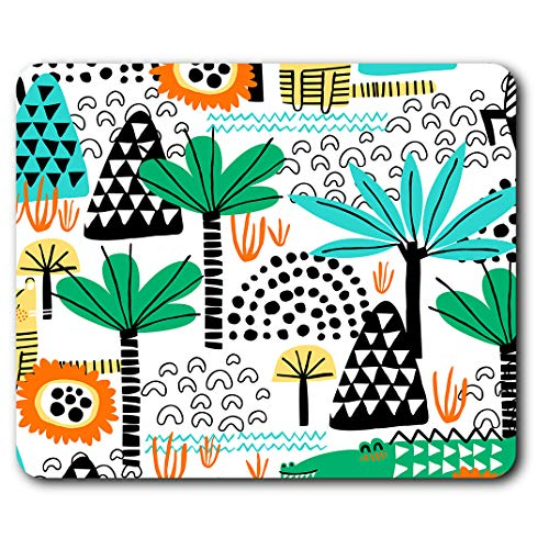 Comfortable Mouse Mat - Tropical Plants & Animals Wild Print 23.5 x 19.6 cm (9.3 x 7.7 inches) for Computer & Laptop, Office, Gift, Non-Slip Base - RM16785