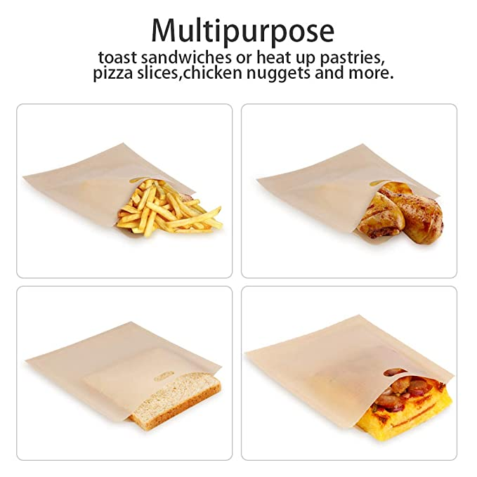 4x 300 veces Reutilizable toastabags no ensucia Tostadora Sandwich Bolsas Tostie