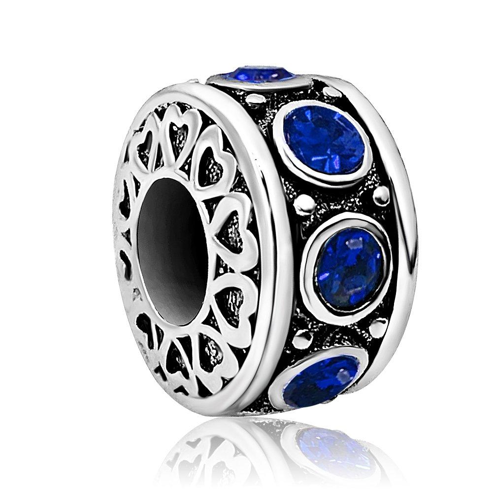 JMQJewelry Heart Love Birthday Jan-Dec Birthstone Charms Beads for Bracelets Mother Mom Gifts