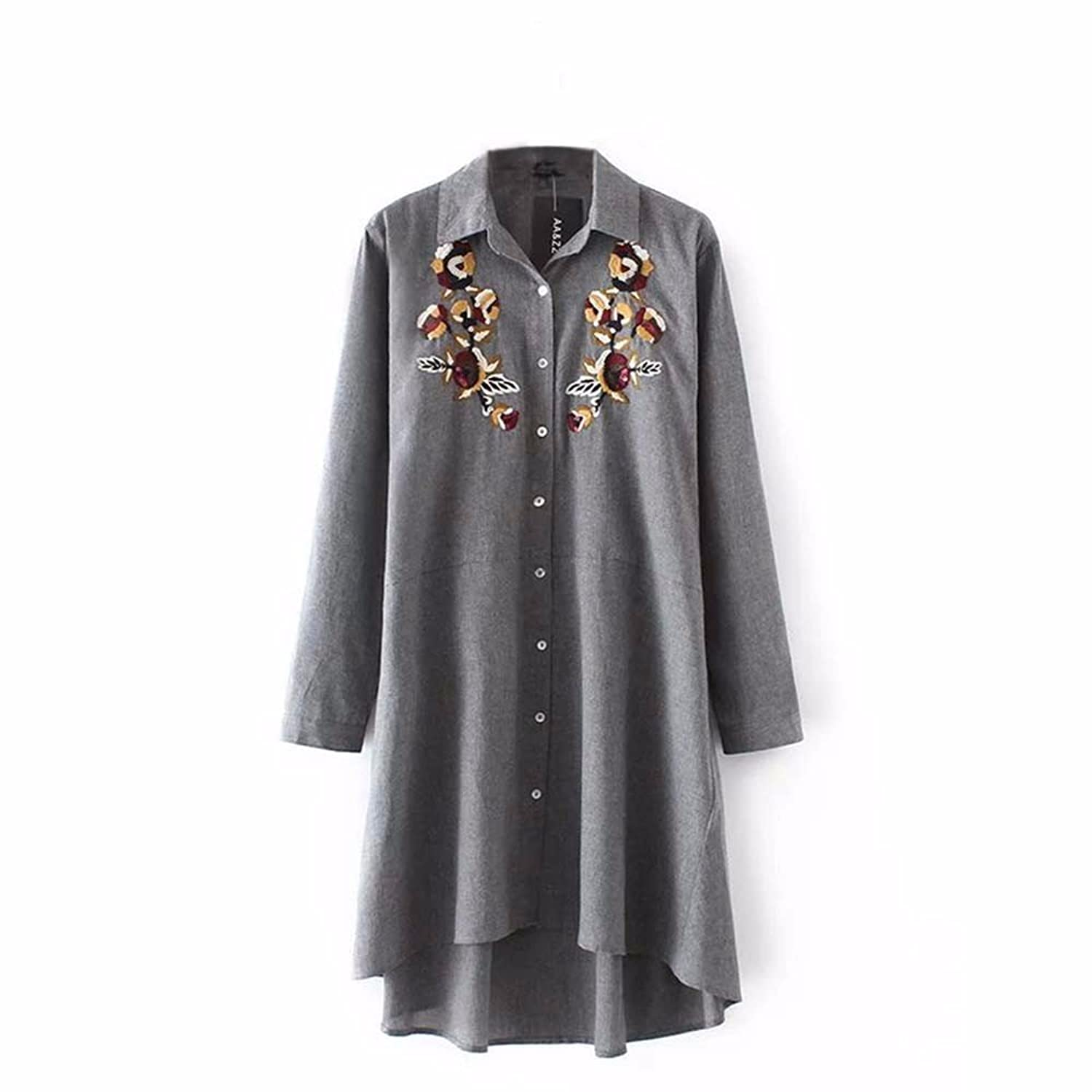 AOHANG Casual Floral Embroidery Blouse Women Button Down Shirts Dress