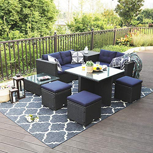 Sophia & William 9 Piece Patio Furniture Set Rattan Wicker Outdoor Sectional Couch Sofa Set, Conversation Set with Storage Box & Glass Table Top