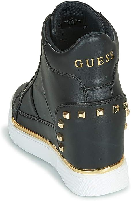 Guess Scarpe Donna Sneaker Alto con Zeppa Interna MOD. FEELIXI Ecopelle Nero D20GU14