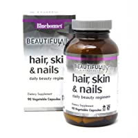 BlueBonnet Nutrition Beautiful Ally Hair, Skin & Nails, Hydrolyzed Collagen from Grass Fed Cows, Collagen Peptides Type 1 & 3, Non GMO, Gluten Free, Soy Free, Milk Free, Kosher, 90 Vegetable Capsules