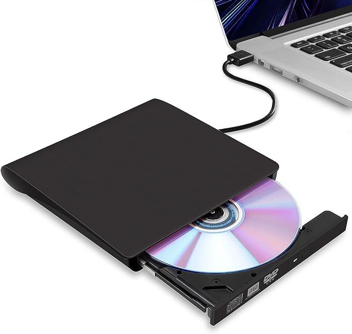 External CD/DVD Drive for Laptop, USB 3.0 Ultra-Slim Portable Burner Writer Compatible with Mac MacBook Pro/Air iMac Desktop Windows 7/8/10/XP/Vista (Black)