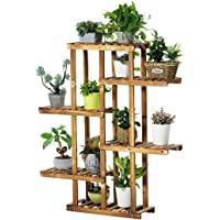 Khkfg Support à plantes sur pied en bois de pin, 6 tablettes, présentoir à fleurs pour plusieurs intérieurs 21.7x9.8x49.2in