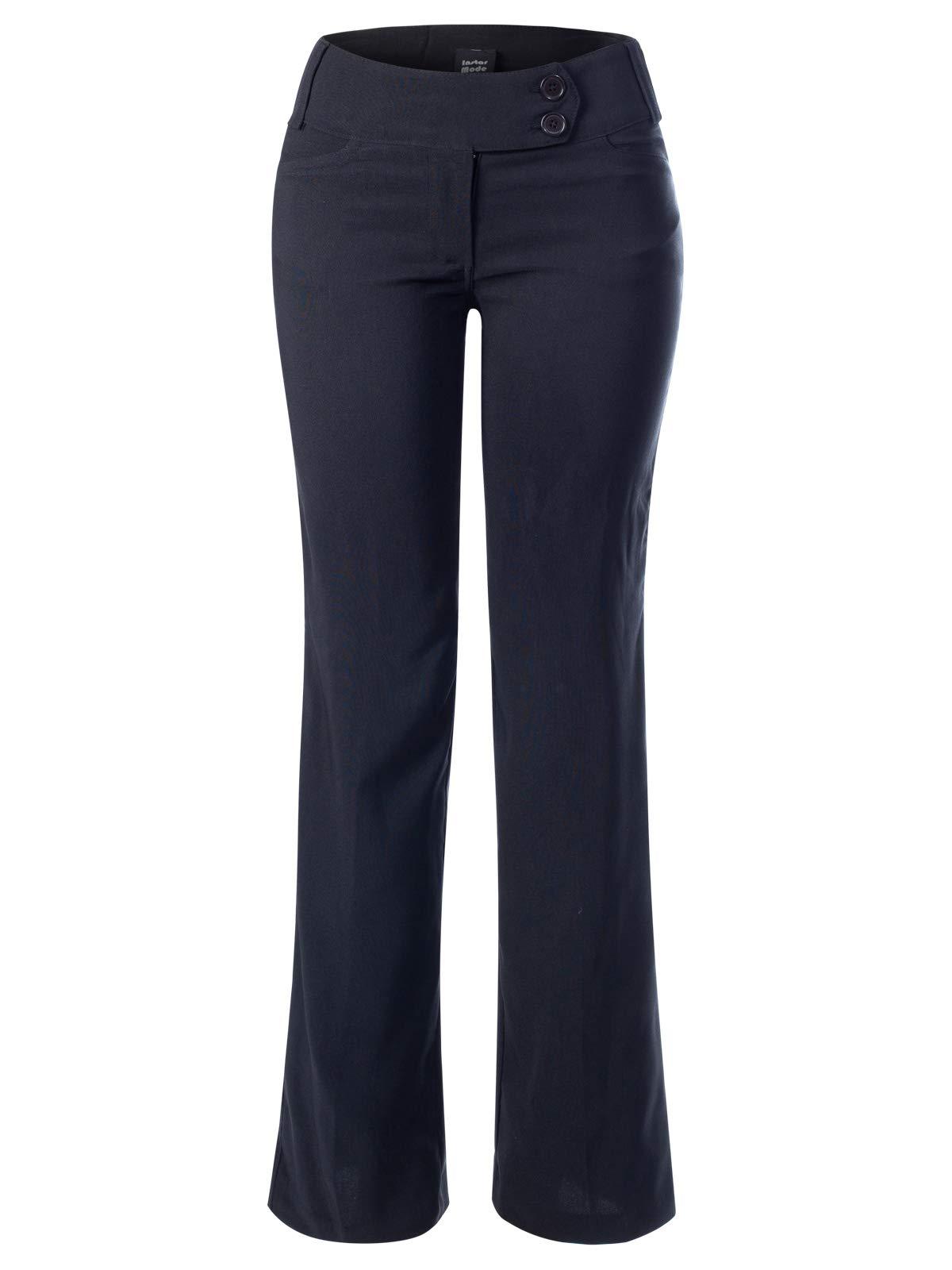 Instar Mode Women's High Waist Slim Boot-Cut Stretch Dress Pants Trousers Black M