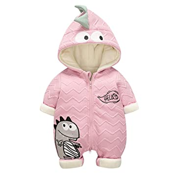 Newborn Baby Boys Girls Fleece Snowsuits Winter Warm Clothes Floral Hooded Thicken Coveralls 3-24 Months