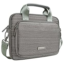 Tablet Bag Evecase 9.7 ~ 10.1 Inch Tablet Suit Fabric Multi-functional Neoprene Messenger Tote Bag With Handle & Carrying Strap (Gray) For Apple Ipad Samsung Galaxy Kids Tablet & More