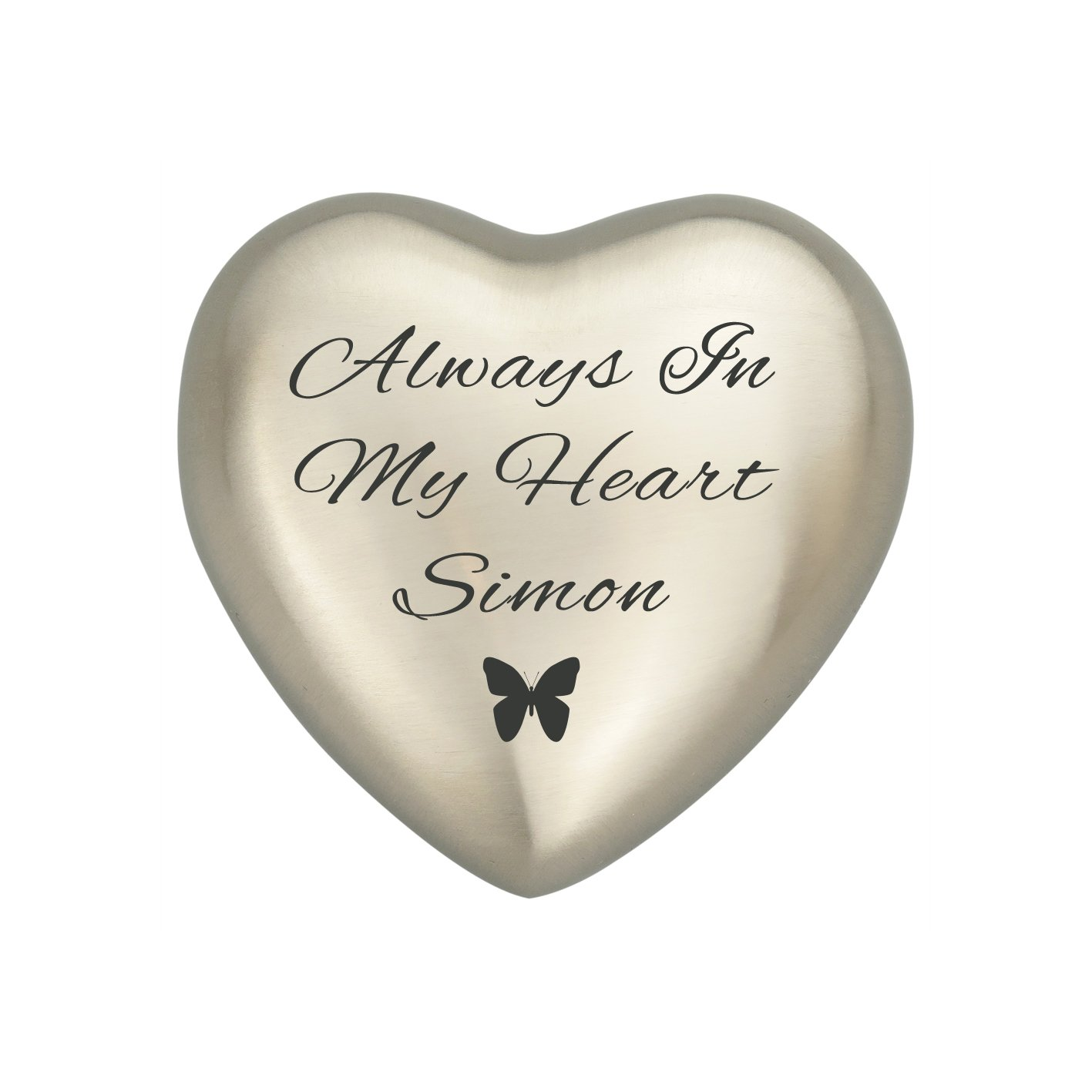 Always In My Heart Personalised Silver Heart Butterfly Ashes Urn Keepsake Cremation Love to Treasure