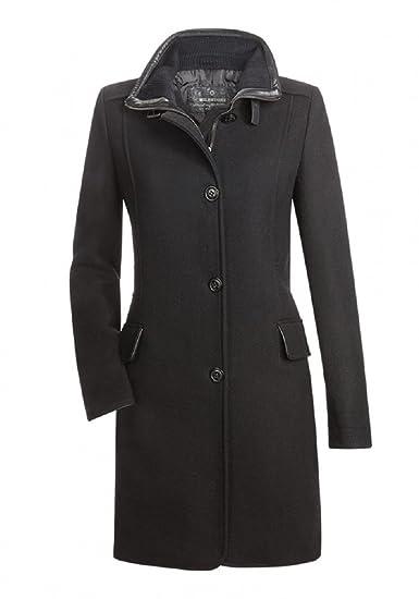 MILESTONE Eleganter Damen Mantel Wollmantel Rosalie Schwarz Tailliert Stehkragen Woll Mix Gr. 34 46