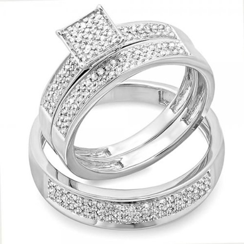 0.55 Carat (ctw) Sterling Silver Round White Diamond Men's & Women's Micro Pave Engagement Ring Trio Bridal Set