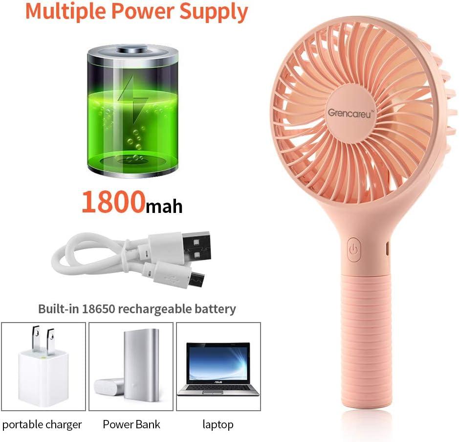 Rose Portable Ventilateur USB Personnel Ventilateurs /à Piles Rechargeables Portatifs de Ventilateur de Bureau Pour la Chambre /à Coucher de Bureau /à la Maison et le Voyage Ext/érieur