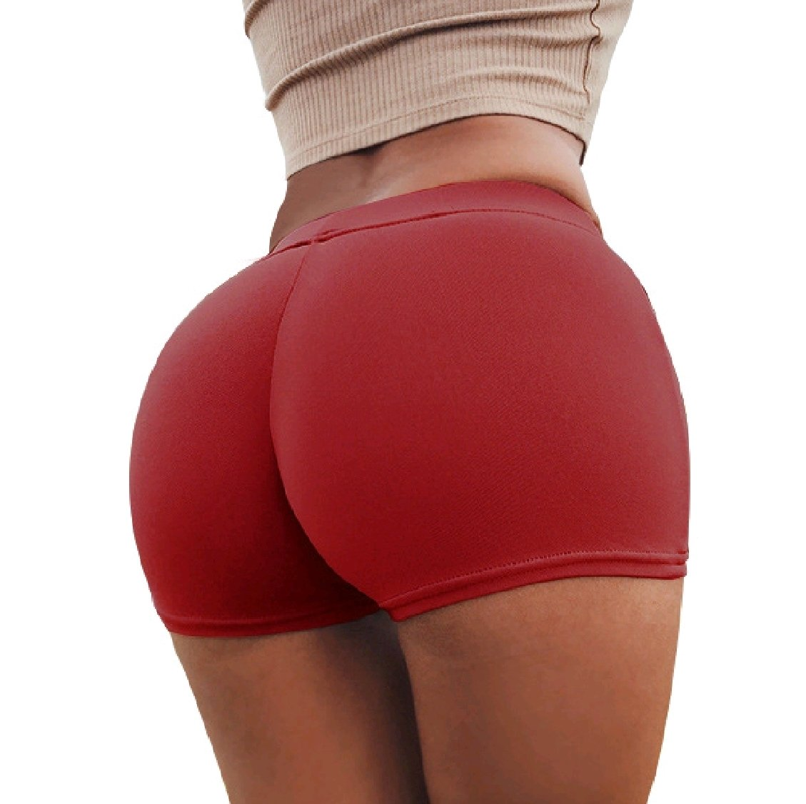 Freely Womens Hip-up Running High-Waisted Pure Colour Fashion Shorts M Pattern2