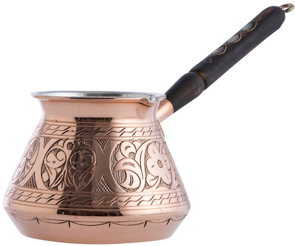 CopperBull THICKEST Solid Hammered Copper Turkish Greek Arabic Coffee Pot Stovetop Coffee Maker Cezve Ibrik Briki with Wooden Handle,(Large - 15 Oz) - ENGRAVED