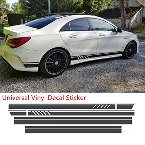 (Universal Black Car Racing Body Side Stripe Skirt Roof Hood Decal Sticker for All Cars Vinyl Bumper Decal(4Pcs))