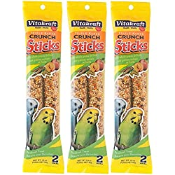 Vitakraft Triple Baked Crunch Sticks with Whole Grains and Fruit Parakeet Treat (3 Packs / 2 Treats Per Pack)