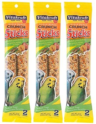 Vitakraft Triple Baked Crunch Sticks with Whole Grains and Fruit Parakeet Treat (3 Packs / 2 Treats Per Pack) by Vitakraft