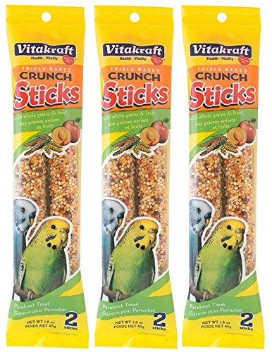 61ZhMxxse7L - Vitakraft Triple Baked Crunch Sticks with Whole Grains and Fruit Parakeet Treat (3 Packs/2 Treats Per Pack)