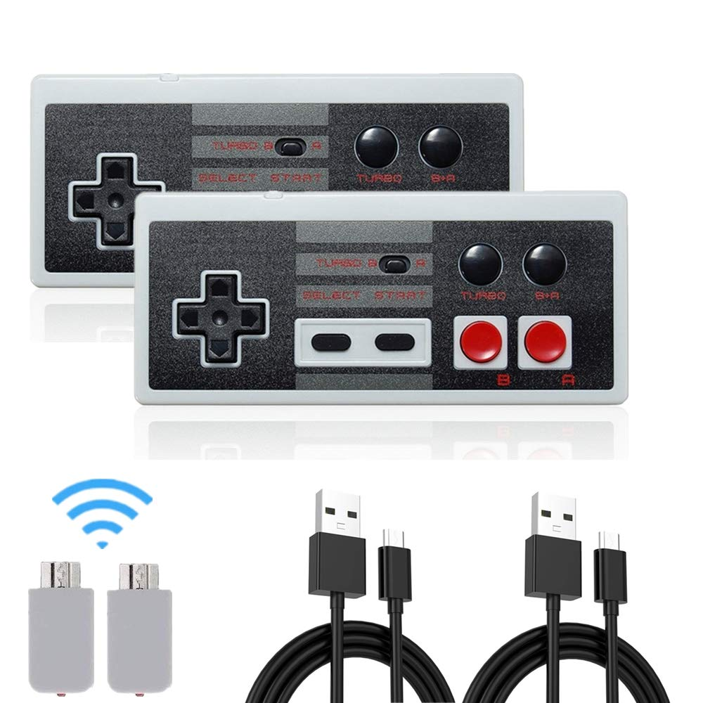 Wireless NES Mini Classic Rechargeable Controller,NES Wireless Gamepad for Nintendo Mini NES Classic Edition, Wireless Joypad & Gamepads Controller (2 Pack)
