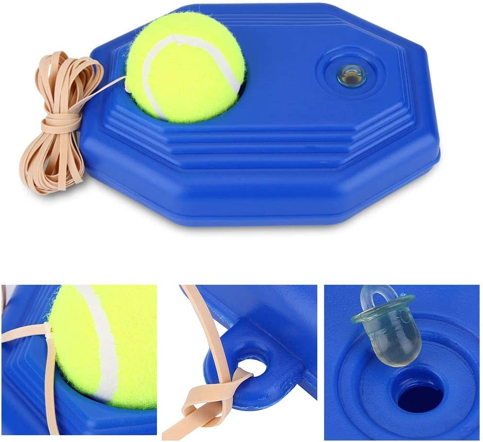 HURRISE Tennis Trainer Self-Study Tennis Rebound Player Tennis Ball Back Base Trainer Set with Rubber Elastic Rope for Single Person Practice