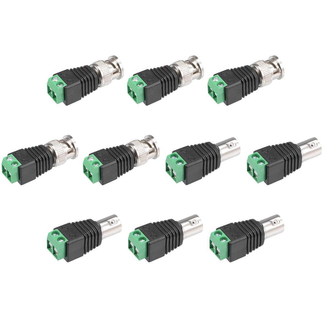 uxcell 10Pcs Cat5 to Coaxial Camera CCTV BNC Male Female Jack Connector Screw Terminal Adapter