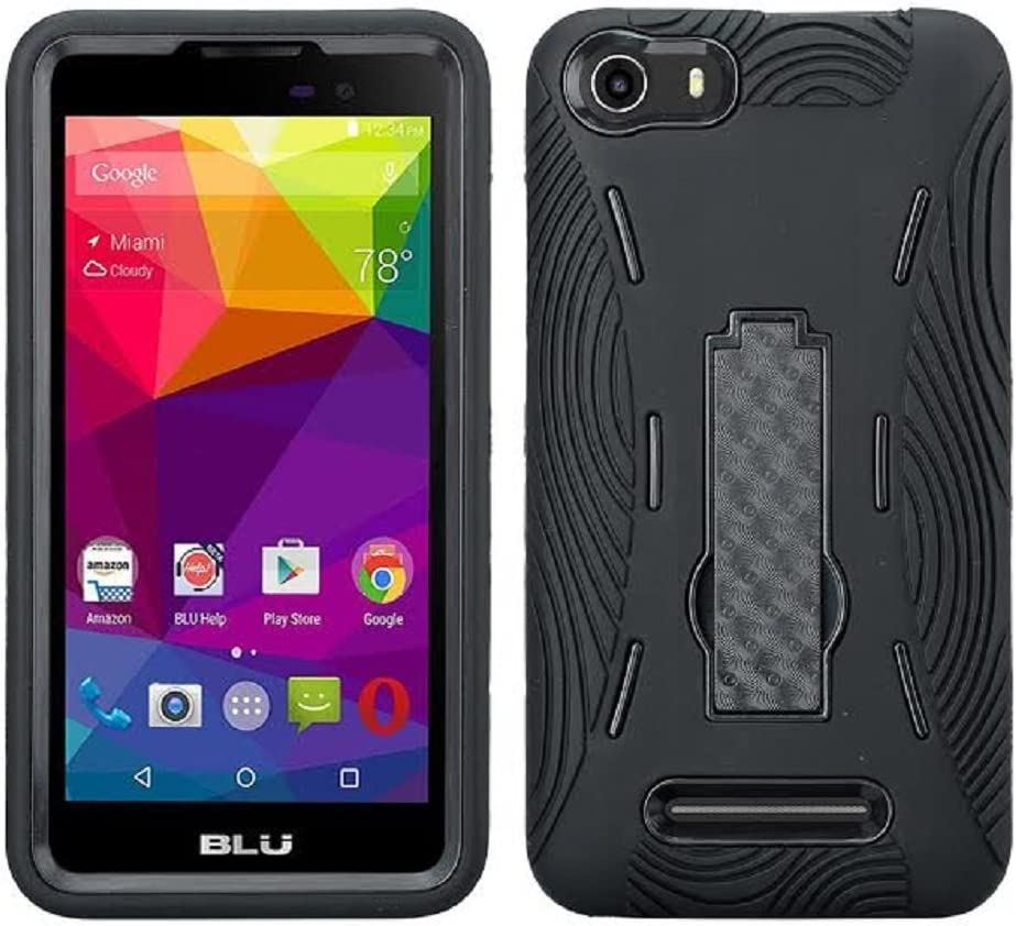BLU Vivo XL (V0030UU) Case, Premium Rugged Heavy Duty Drop Proof Case With Kickstand For BLU Vivo XL (V0030UU)-BLACK