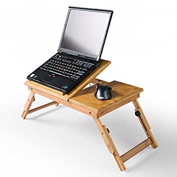 Mesa de Madera Escritorio de la computadora Cama Plegable Lazy Notebook portátil Pequeño Escritorio Portable Small Table Mesas para Ordenador: Amazon.es: ...