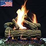 PayandPack Myard 18″ inches Country OAK Style Complete Fire Gas Logs Set with HEARTH KIT for Vented Gas Fireplace Review