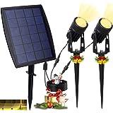 DINGLILIGHTING LED Solar Landscape Spotlights, Waterproof Solar Powered Wall Lights 2-in-1 Outdoor Solar Landscaping…