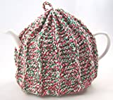 Knit Tea Cozy Cosy Handmade Washable Christmas Red and Green