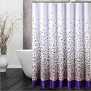 IMIEE Purple Polyester Shower Curtain With And Orange Scattered Fragments Bits Pieces Pattern
