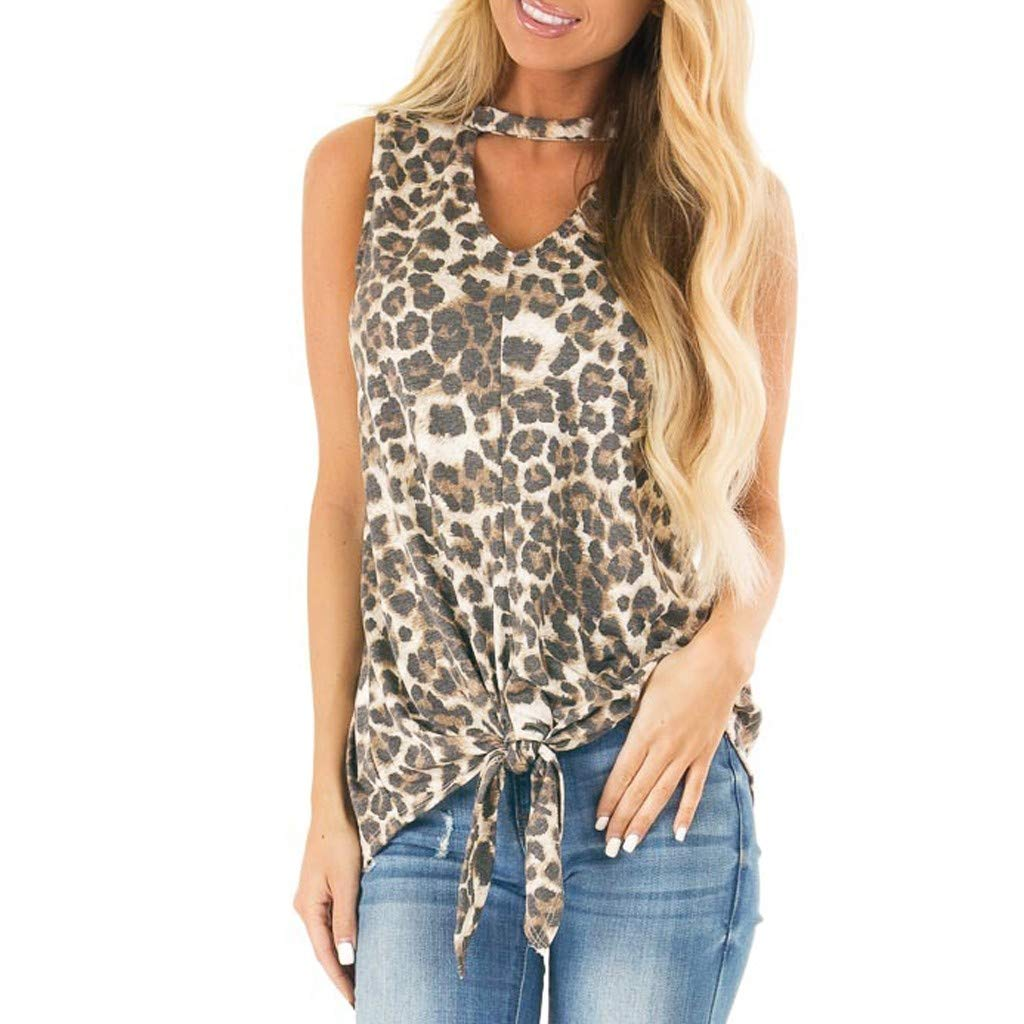 SOWU Women Tank Tops Ladies Fashion Leopard Print Sleeveless Front Knot Hanging Neck Casual Vest Blouses T-Shirt