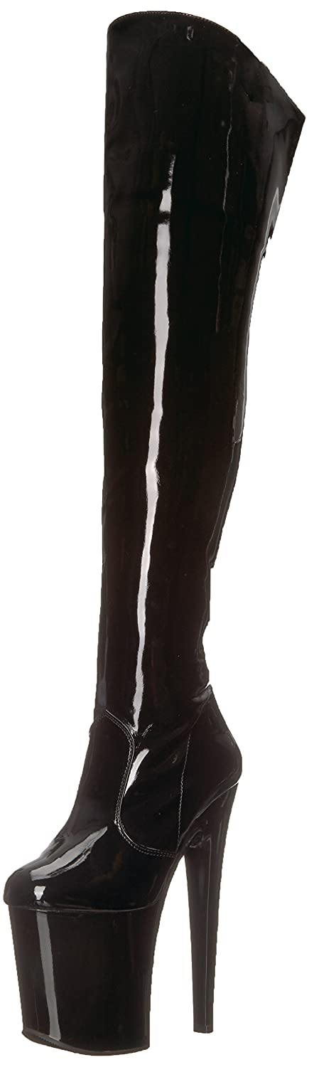 Pleaser Women's Xtreme-3010 Over The Knee Boot B000XUUORQ 10 B(M) US|Black Patent/Black