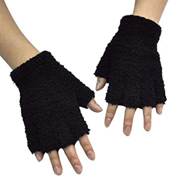 Unisex Warm Half Finger Knit Gloves Stretchy Women Men Winter Warmer Knitted Mittens Fingerless