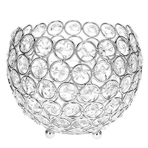 Vk Crystal Hollow Wedding Party Candle Holder Decor Lamp Light Ball Home Retro Fits Best on Flameless Electronic Candle Tea Light (Jewel Tea Bowls)