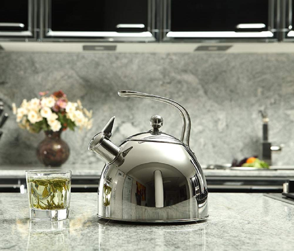 Injoy Whistling Tea Kettle 304 Stainless Steel Teapot Classic Cookware in LFGB/FDA Standard for All Stovetops - 1  Insulation Pad Included, 2.64 Quart/2.5 L, Silver by InJoy (Image #7)