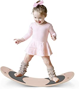 HAN-MM Wooden Balance Board Wobbel Balance Board Kid Yoga Board Curvy Board - Wooden Rocker Board Grey