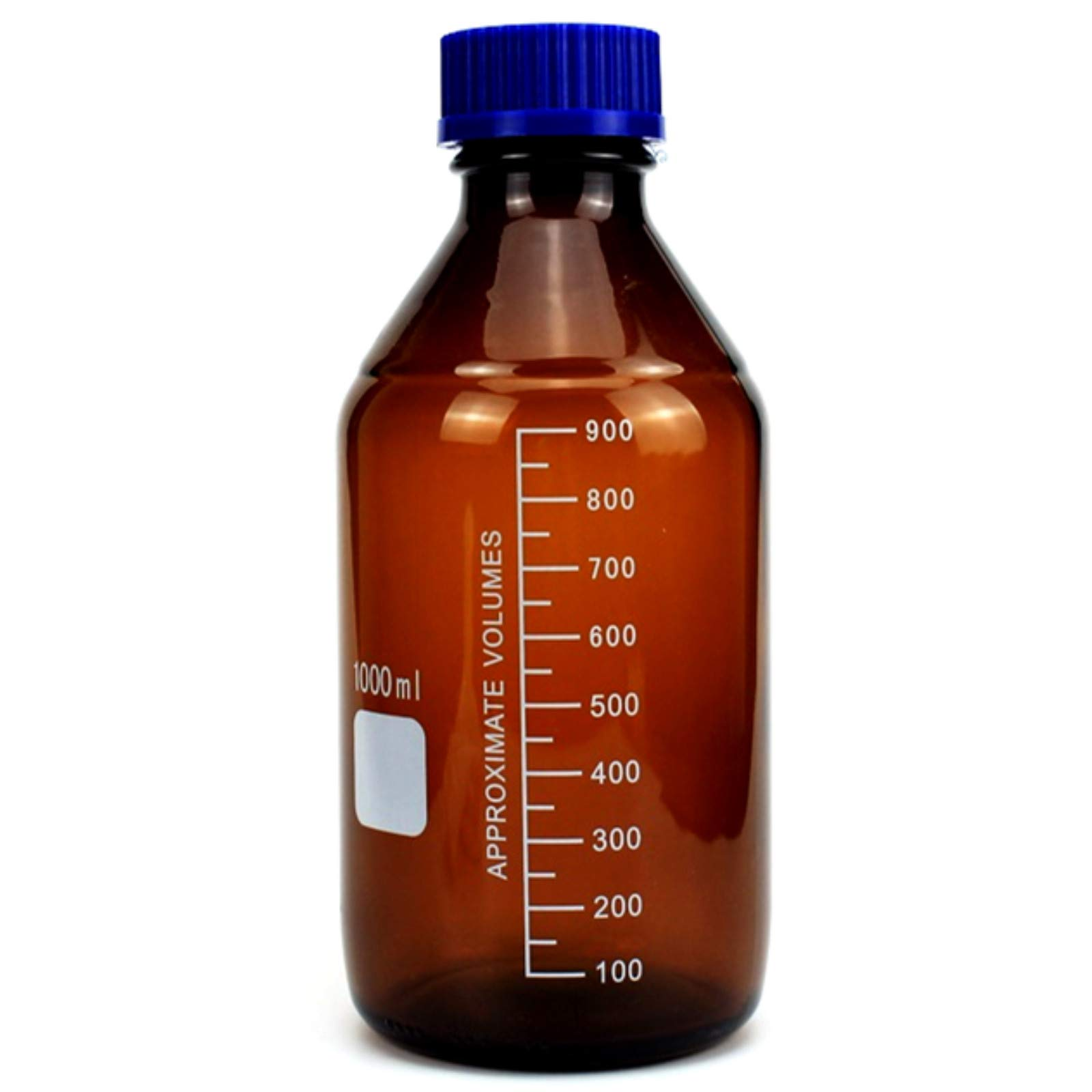 Deschem 1000ml,Lab Glass Amber Reagent Bottle,Screw Cap Lid,1Litre Brown Flask by Deschem