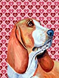 Caroline's Treasures LH9152GF Basset Hound Hearts Love and Valentine's Day Portrait Flag, Small, Multicolor