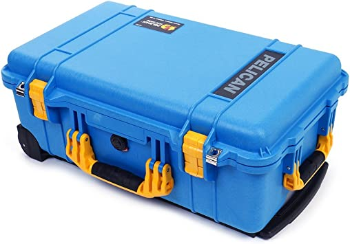 with Foam with Wheels. Pelican Blue /& Yellow 1510 Case