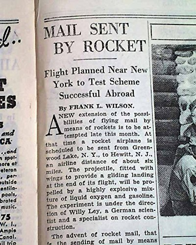1st U.S. MAIL ROCKET Airplanes Flight Frido Kessler PLANNED 1936 Old Newspaper THE NEW YORK TIMES, November 10, (American Mail Airplane)