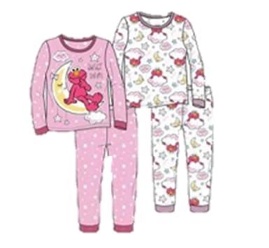 d13b074246e8 Amazon.com  Toddler Girls  Elmo 4-Piece Cotton Pajama Set Sweet ...
