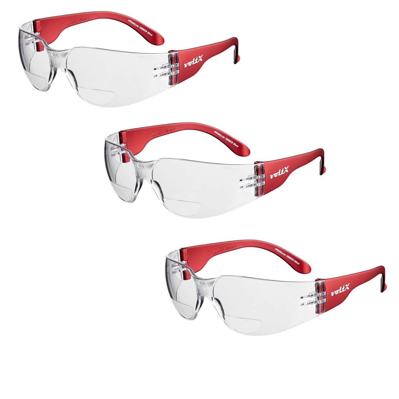 3 x voltX 'GRAFTER' Lentes de lectura de seguridad industrial bifocales, Certificado CE EN166F / Gafas de Ciclismo (Colores Mixtos: 1 x transparente 1 x ahumado 1 x amarillo dioptría +1.5) – Safety Reading Glasses StraightLines