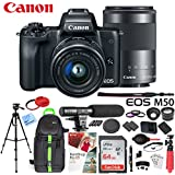 Canon EOS M50 Mirrorless Camera Body with 4K Video (Black) Deluxe 64GB Triple Battery Bundle with Shotgun Mic, Backpack, Tripod and More (15-45mm & 55-200mm 2 Lens Kit)