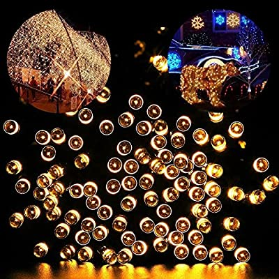 Blusow Solar String Lights 100LED Outdoor Fairy Lights, 55ft8 Feature Courtyard, Garden, Fence, Stairs, Windows, Christmas, Holiday Decorations, Warm White