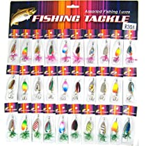 QualyQualy Assorted Fishing Lures With Treble Hooks Metal Spinners Spoon With Feather Bass Salmon Trout FishingLure Freshwater 30 Pcs