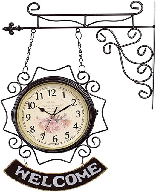 YF-Clock Estación de jardín Exterior Reloj Vintage Doble Lado Movimiento de Cuarzo Reloj de Pared Estilo Europeo Salón Dormitorio Estudio Decoración de Pared - 10 Pulgadas (Color : Brown): Amazon.es: Hogar