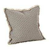 SARO LIFESTYLE Corinth Collection Moroccan Tile Design Down Filled Cotton Throw Pillow, 20'', Slate
