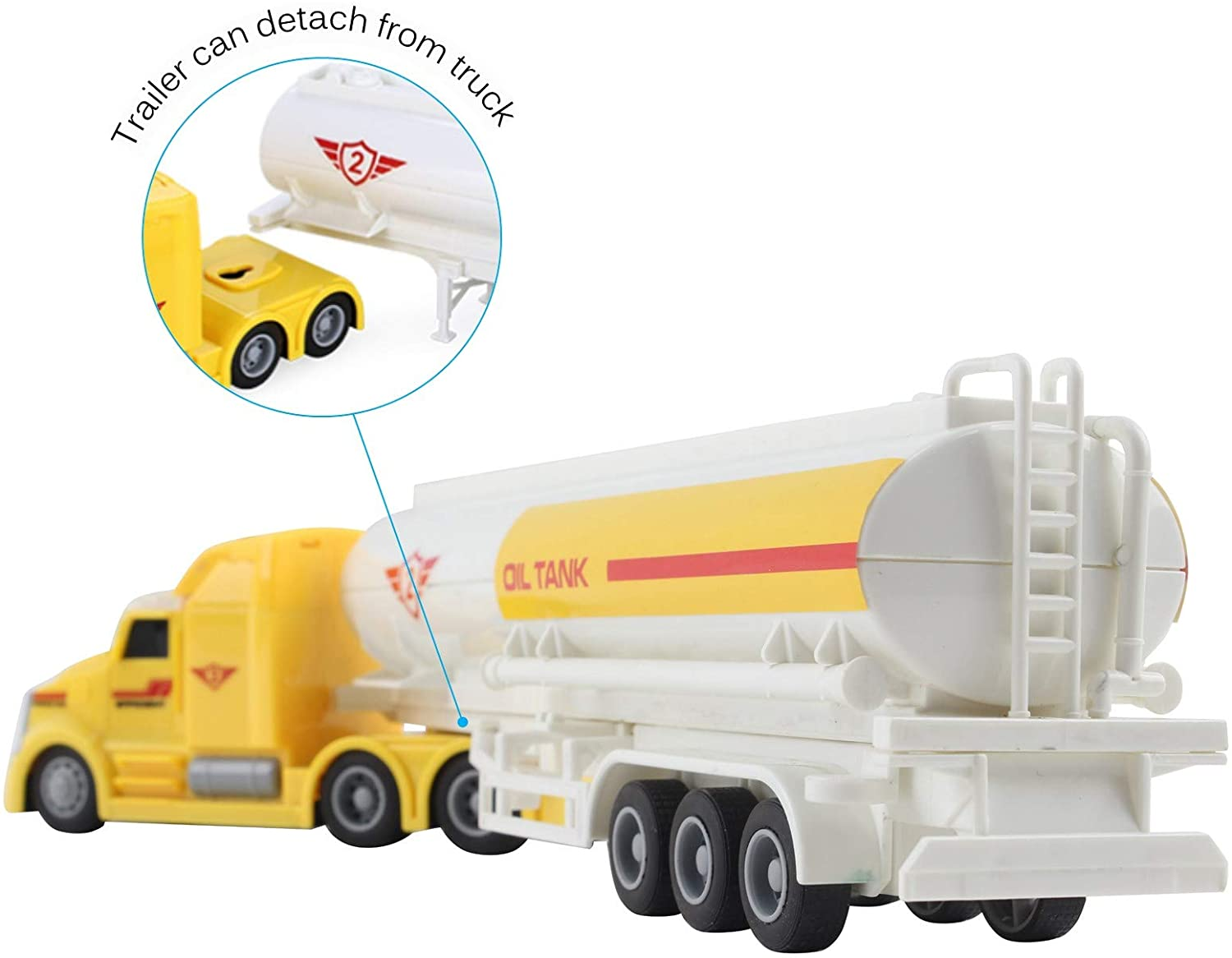 Vokodo Toy Semi Truck Fuel Trailer 14.5 Friction Powered with Lights and Sound Kids Push and Go Big Rig Oil Carrier Vehicle Transporter Semi-Truck Pretend Play Car Great Gift for Children Boys Girls